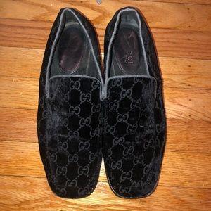 Gucci Embroidered Monogram Velvet Loafer
